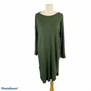 NWT BOBEAU Green Scoop Neck Curve Hem Midi Dress